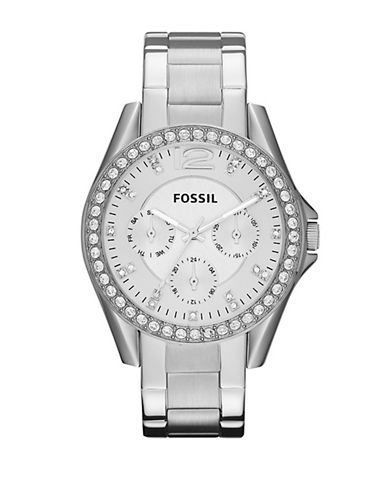 Fossil Riley Stainless Steel Watch-SILVER-One Size
