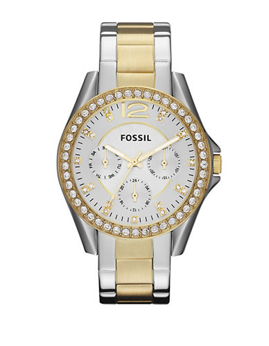 Fossil Riley Stainless Steel Watch-TWO TONE COLOUR-One Size