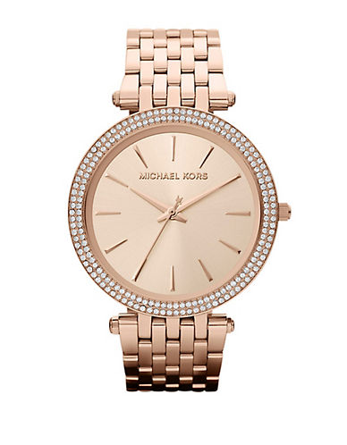 Michael Kors Mid-Size Rose Gold Tone Stainless Steel Darci Three-Hand Glitz Watch-ROSE GOLD-One Size