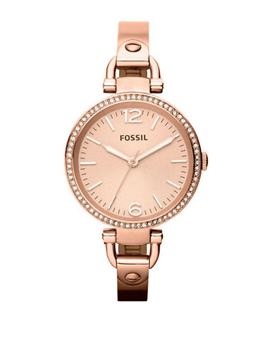 Fossil Georgia Glitz Rose Coloured Stainless Steel Watch-ROSE GOLD-One Size