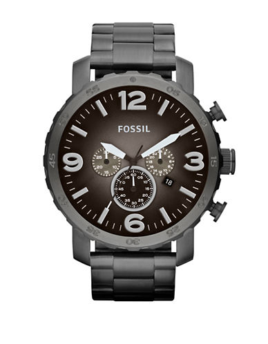 Fossil Mens Nate Stainless Steel  Smoke Watch-SILVER-One Size