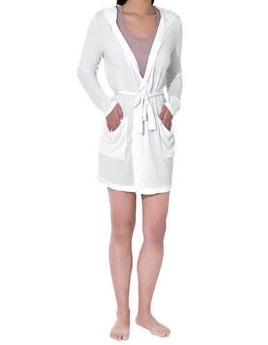 Paper label Slouch Pocket Robe With Hood white Medium