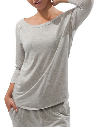 Paper Label Amber Heathered Top-GREY-Small 88582486_GREY_Small