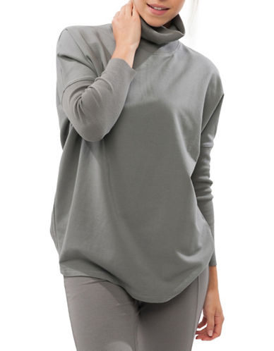 Paper Label Boxy Turtleneck-GREY-Medium