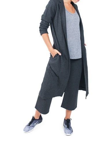 Paper Label Long Open Blazer-GREY-Large 88587959_GREY_Large
