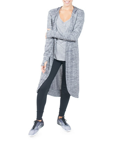 Paper Label Hooded Cardigan-GREY-Large 88587965_GREY_Large