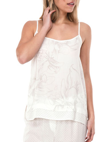 Paper Label Drew Soft Print Chemise-WHITE CLOUD-X-Small
