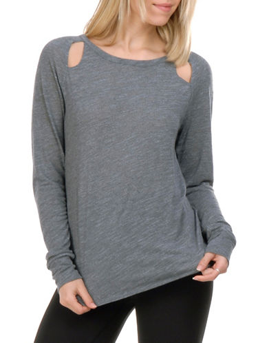 Paper Label Clara Long Sleeve Top-GREY-Medium