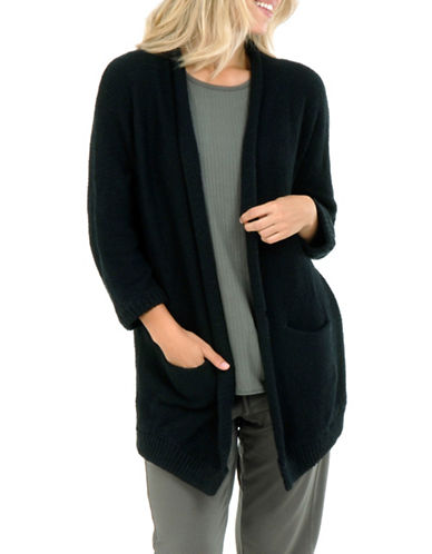 Paper Label Inez Rib-Knit Cardigan-BLACK-Large