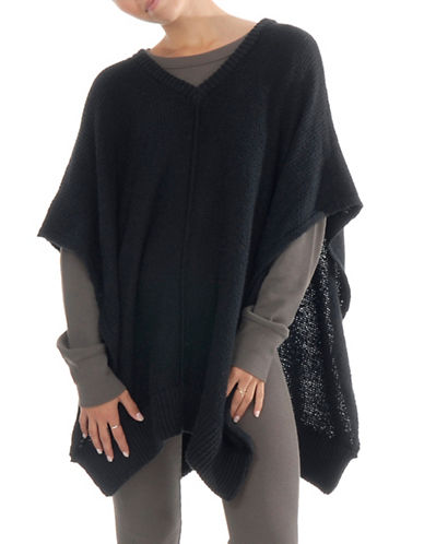 Paper Label Emmanuelle Knitted Poncho-BLACK-X-Small/Small