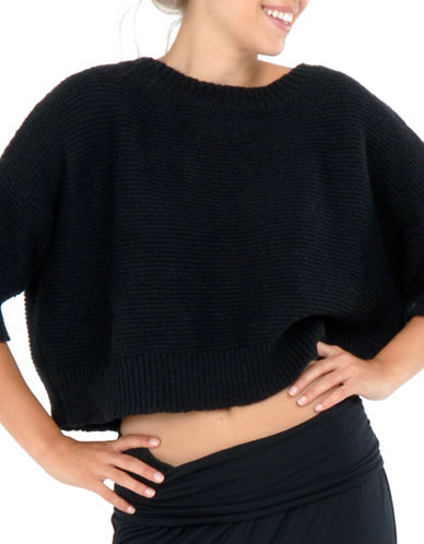 Paper Label Carine Cropped Sweater-BLACK-Medium