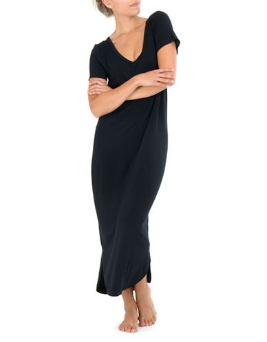 Paper Label Loose-Fit Night Gown-BLACK-X-Small