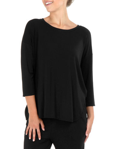 Paper Label Three-Quarter Sleeve Top-BLACK-X-Small