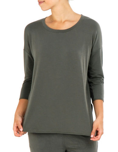Paper Label Three-Quarter Sleeve Top-GREEN-X-Large