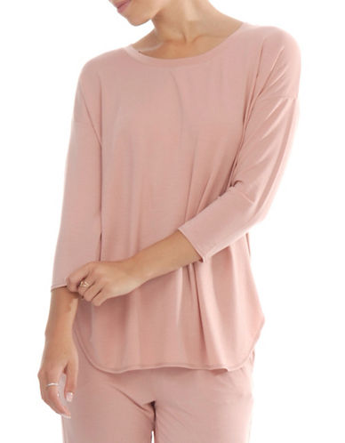 Paper Label Three-Quarter Sleeve Top-PEACH-Small