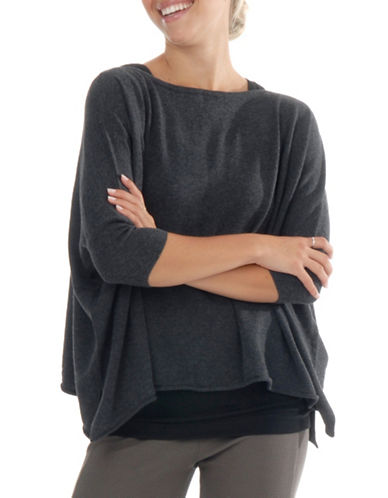 Paper Label Square Cut Sweater-CHARCOAL-Medium