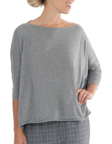 Paper Label Square Cut Sweater-GREY-Large