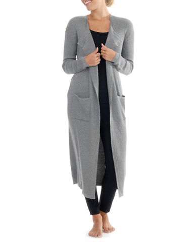 Paper Label Ribbed Long Cardigan-GREY-Large