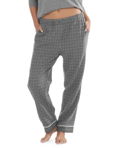 Paper Label Leandra Cotton Pyjama Pants-GREY-X-Small