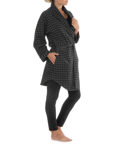 Paper Label Marlowe Flannel Cotton Robe-BLACK-Medium