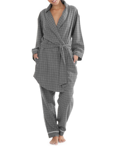 Paper Label Marlowe Flannel Cotton Robe-GREY-Large