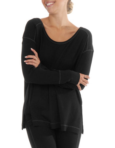 Paper Label Isla Waffle-Knit Pullover-BLACK-X-Large 89705831_BLACK_X-Large