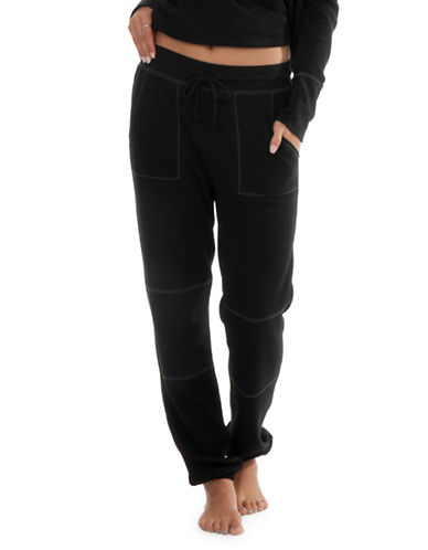 Paper Label Cara Waffle-Knit Sweatpants-BLACK-Small