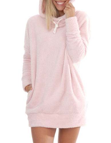 Paper Label Karlie Faux-Fur Hoodie-PINK-X-Small/Small