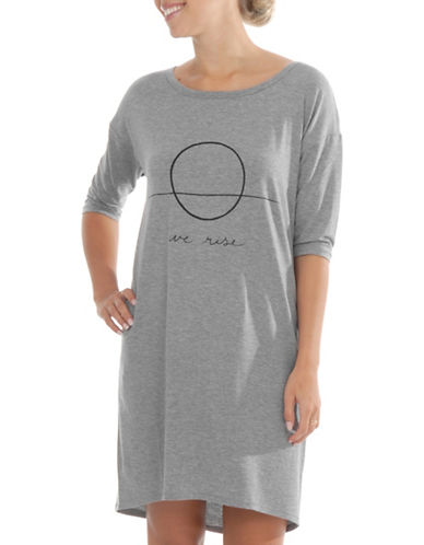 Paper Label Three-Quarter Graphic Sleepshirt-GREY-Large 89705922_GREY_Large