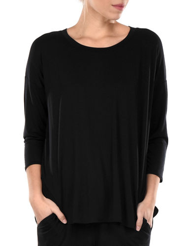 Paper Label Rachel Quarter-Sleeve Pyjama Top-BLACK-Small 89852578_BLACK_Small