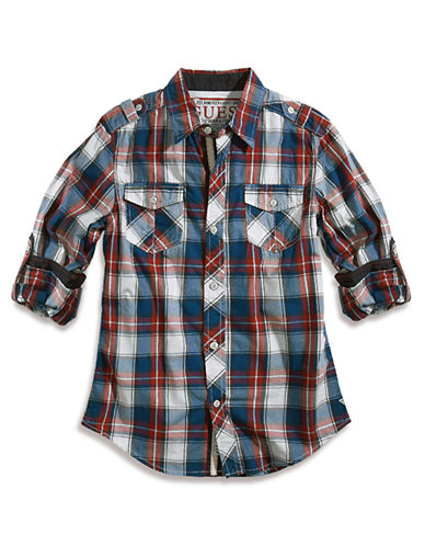 Guess Boys 716 Long Sleeve Jersey Plaid Graphite Shirt plaid Large