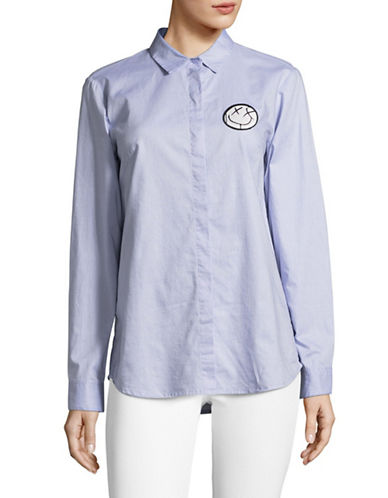 Mo & Co Concealed Placket Solid Shirt-BLUE-X-Small