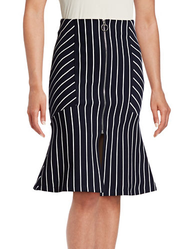 Mo & Co Striped Fit-and-Flare Skirt-BLUE-X-Small