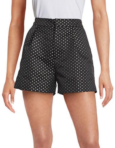 Mo & Co Geometric Print Shorts-BLACK-Large