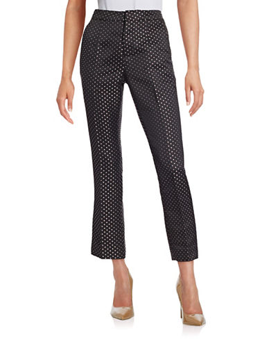 Mo & Co Geometric Print Pants-BLACK-Medium