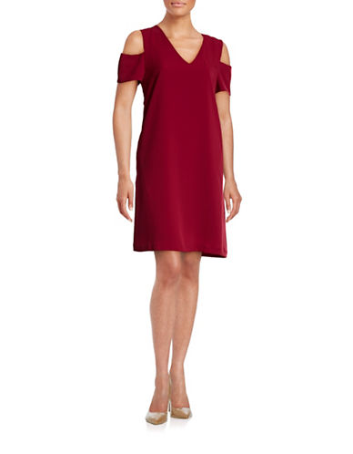 Mo & Co V-Neck Cold-Shoulder Dress-RED-Medium