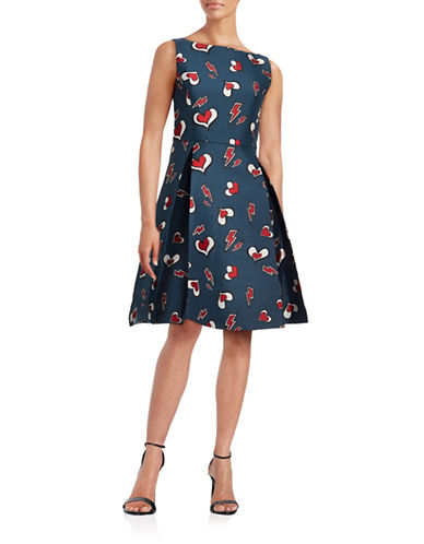 Mo & Co Sleeveless Heart Fit-and-Flare Dress-BLUE-Medium
