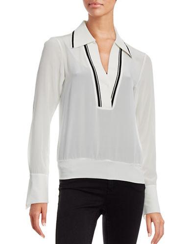 Mo & Co Silk V-Neck Blouse-WHITE-Large