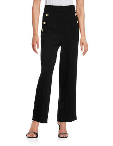 Mo & Co Sailor Button-Trim Pants-BLACK-X-Small 88522166_BLACK_X-Small