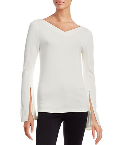 Mo & Co Bell-Sleeved Top-WHITE-X-Small 88522226_WHITE_X-Small