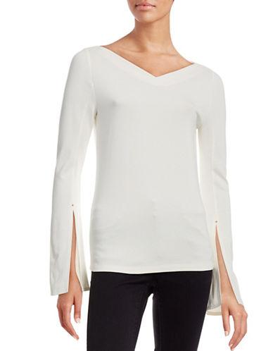 Mo & Co Bell-Sleeved Top-WHITE-Medium 88522228_WHITE_Medium