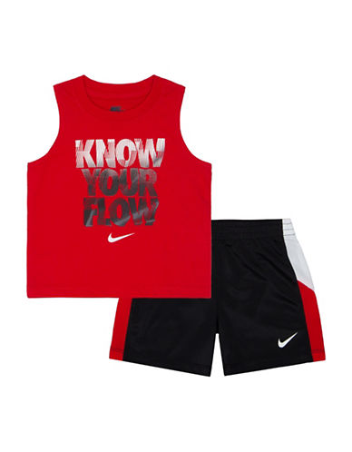 Nike Two-Piece Muscle Tee and Shorts Set-BLACK-18 Months
