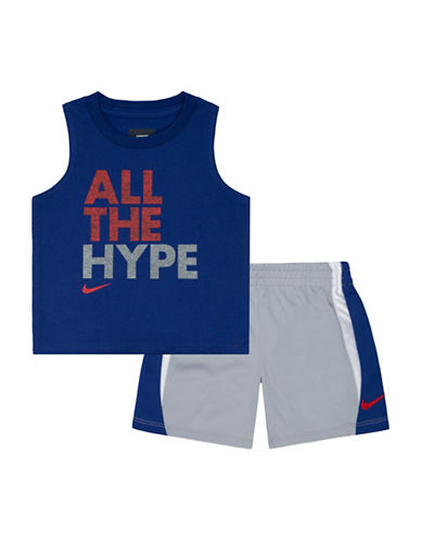 Nike All the Hype Two-Piece Muscle Tank and Shorts Set-GREY-12 Months 88975326_GREY_12 Months