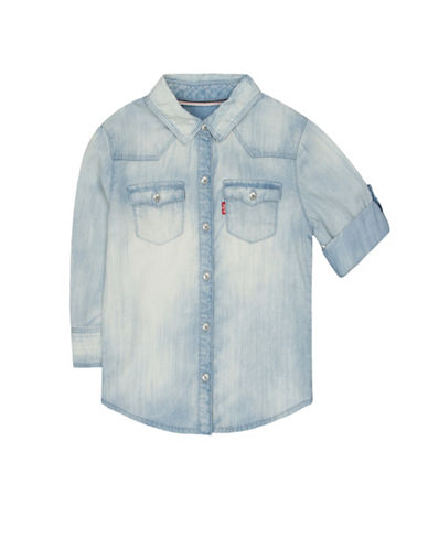 LeviS Three-Quarter Sleeve Denim Shirt-BLUE-Medium