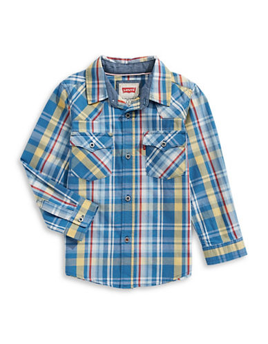 LeviS Barstow Western Plaid Shirt-DARK BLUE-2T