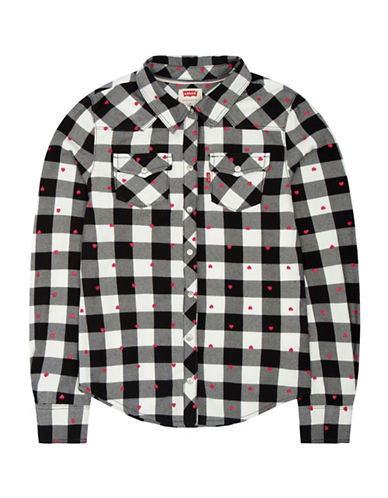 LeviS Western Long Sleeve Plaid Top-WHITE-6