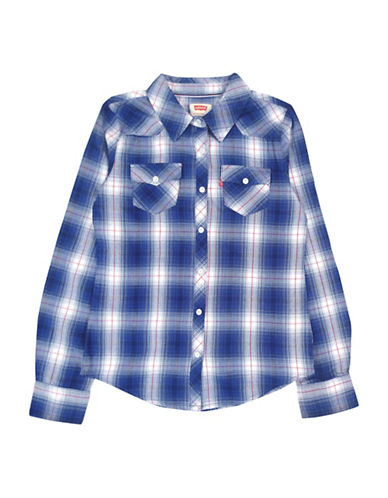 LeviS Western Long Sleeve Plaid Top-BLUE-Small