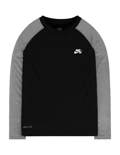 Nike Action Colourblock Raglan T-Shirt-BLACK-Small 88655239_BLACK_Small