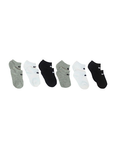 Nike Six-Pack Ankle Socks-GREY ASSORTED-6-7