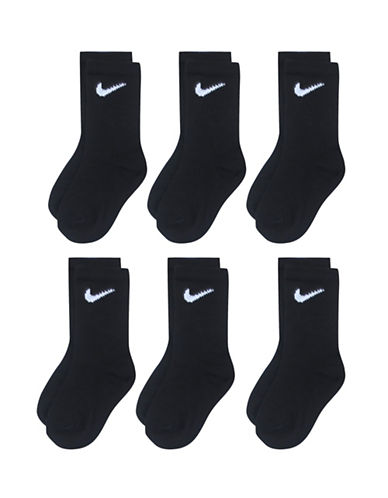 Nike Six-Pack Crew Socks-BLACK-6-7